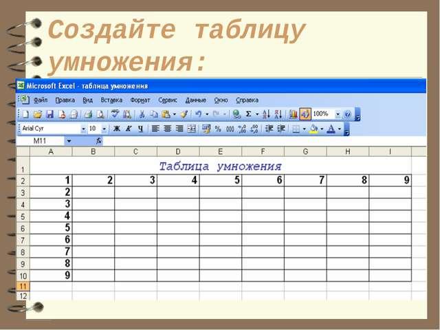 Создайте таблицу умножения: