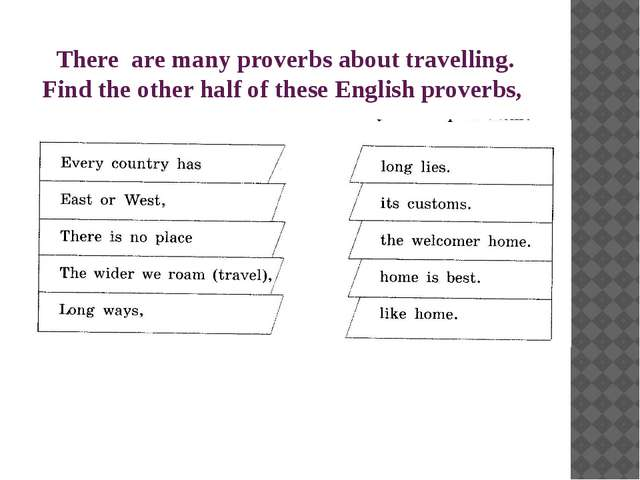 There are many proverbs about travelling. Find the other half of these Englis...