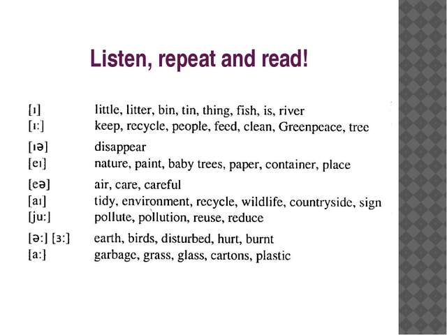 Listen, repeat and read!