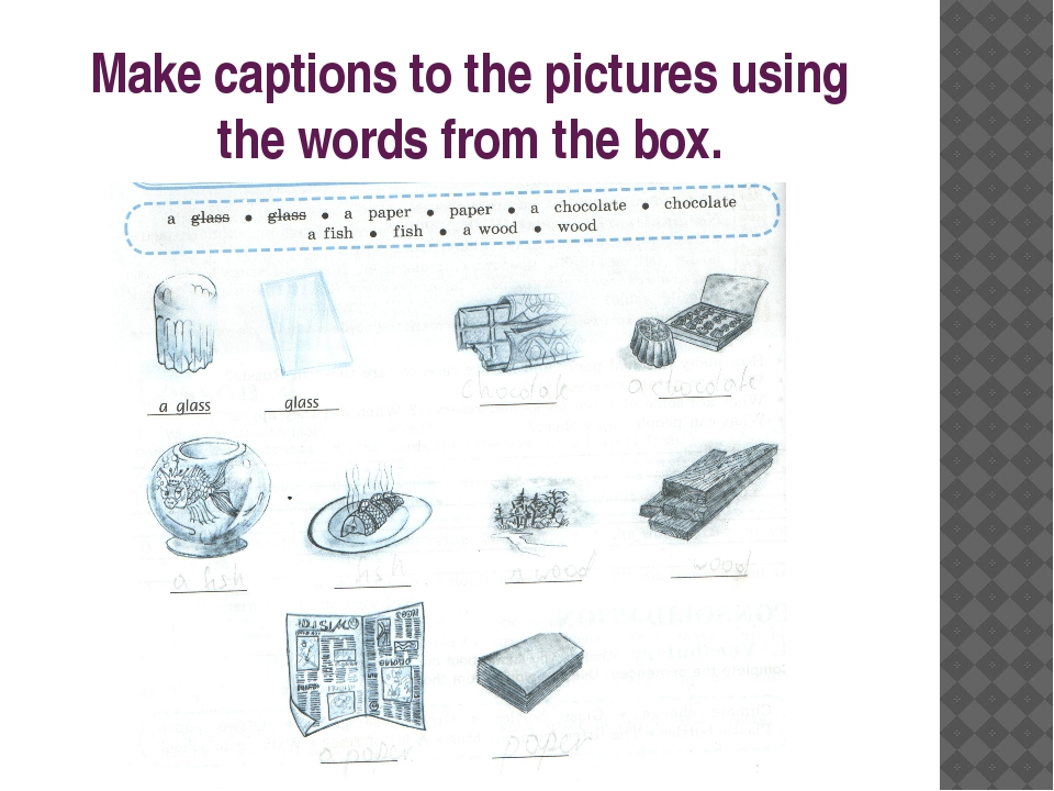 Make captions to the pictures using the words from the box.