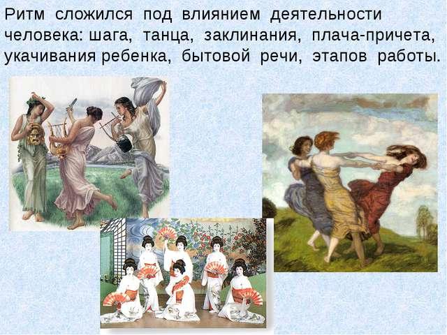 Ритм сложился под влиянием деятельности человека: шага, танца, заклинания, пл...