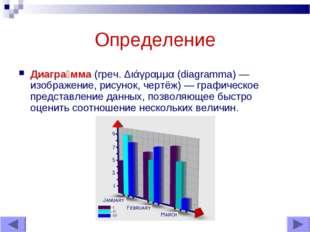 Определение Диагра́мма (греч. Διάγραμμα (diagramma) — изображение, рисунок, ч