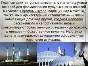 Главные архитектурные элементы мечети послужили основой для формирования мусу