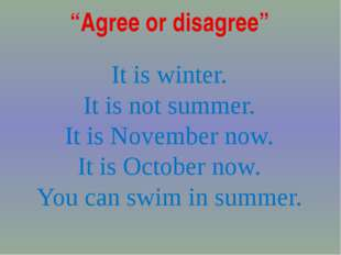 """Agree or disagree"" It is winter. It is not summer. It is November now. It is"