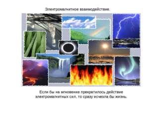 Электромагнитное взаимодействие. Если бы на мгновение прекратилось действие э