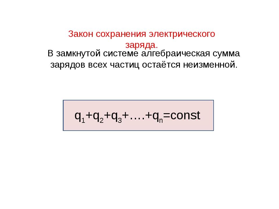 Закон сохранения электрического заряда. В замкнутой системе алгебраическая су...