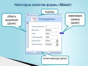 Некоторые свойства формы (Макет) подпись кнопки перехода (да/нет) область вы