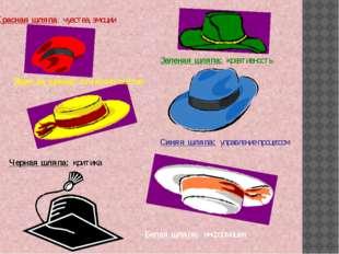 Белая шляпа: информация Красная шляпа: чувства, эмоции Черная шляпа: критика
