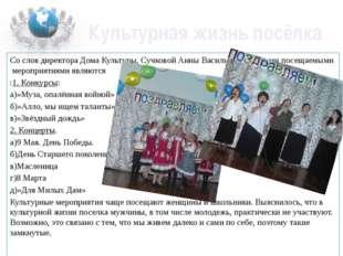 Культурная жизнь посёлка Со слов директора Дома Культуры, Сучковой Анны Васил