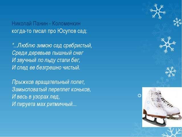 """Николай Панин - Коломенкин когда-то писал про Юсупов сад: """"...Люблю зимою сад..."""