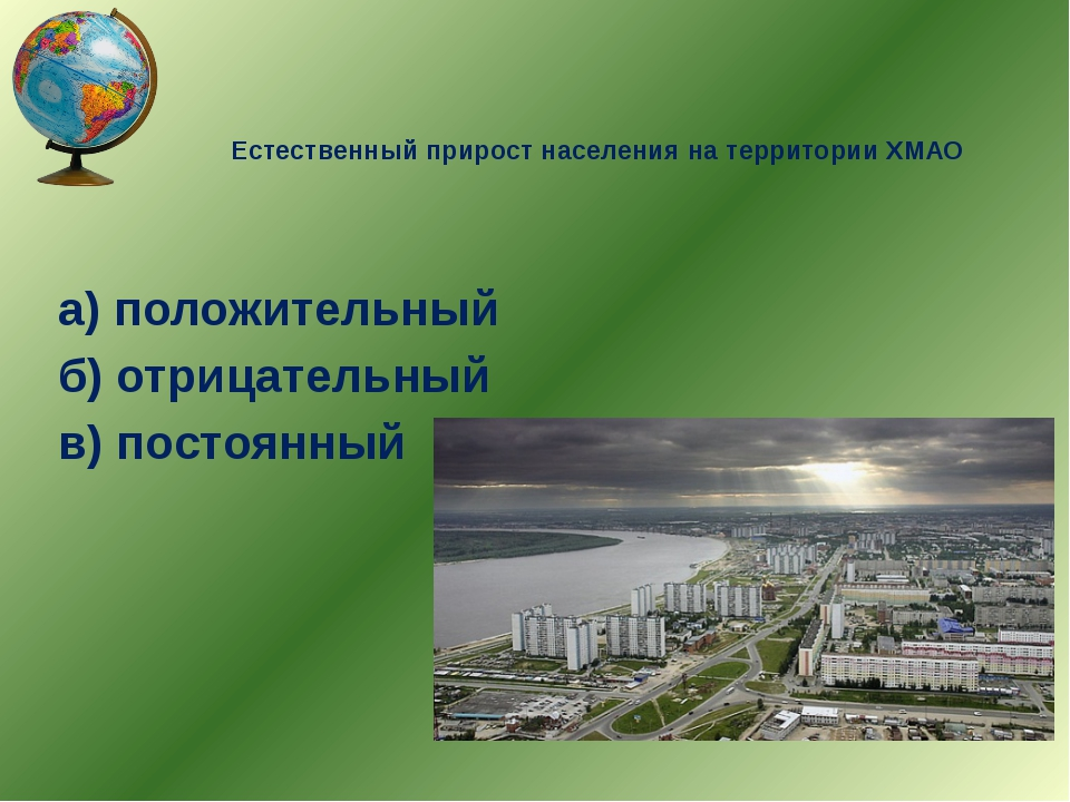 Естественный прирост населения на территории ХМАО а) положительный б) отрицат...
