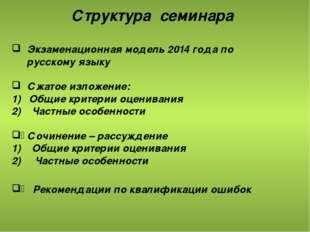 Структура семинара Экзаменационная модель 2014 года по русскому языку Сжатое