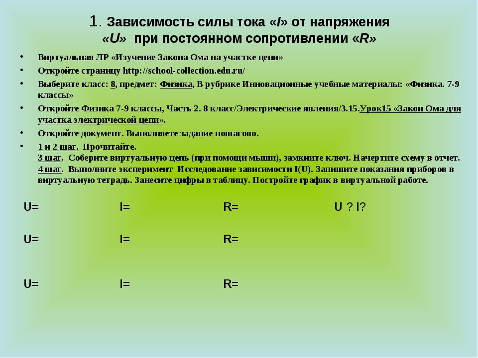 1. Зависимость силы тока «I» от напряжения «U» при постоянном сопротивлении «...