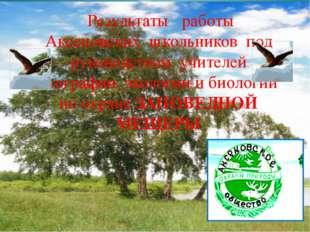 . Результаты работы Аксеновских школьников под руководством учителей географ
