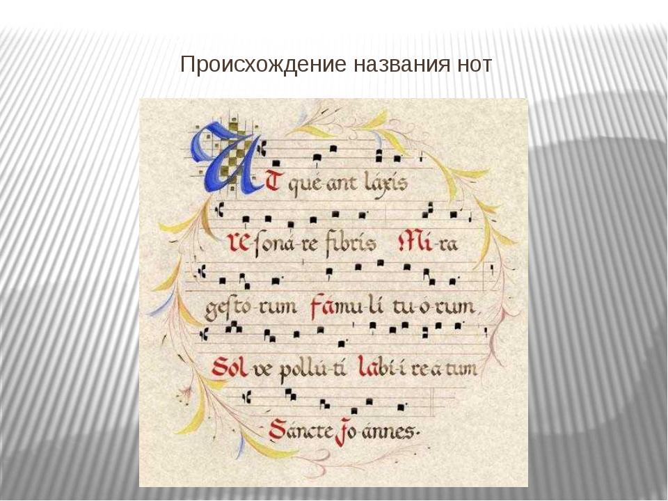 Происхождение названия нот