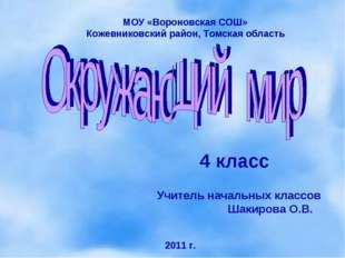 4 класс МОУ «Вороновская СОШ» Кожевниковский район, Томская область Учитель н