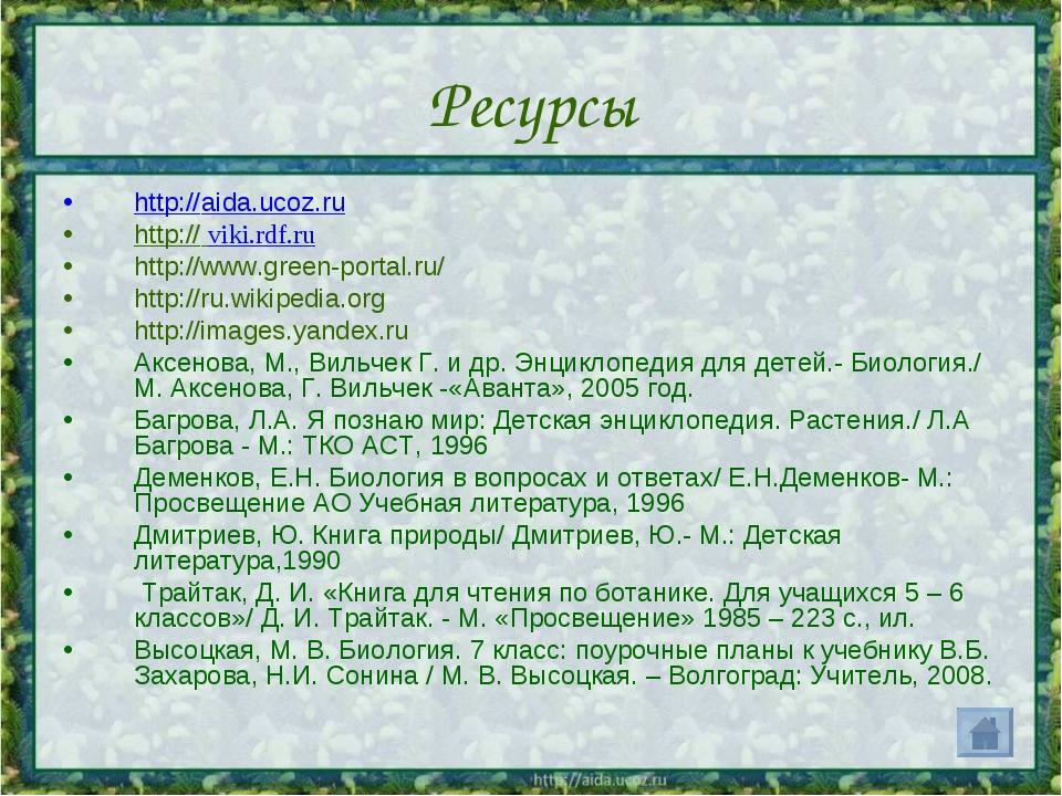Ресурсы http://aida.ucoz.ru http:// viki.rdf.ru http://www.green-portal.ru/ h...