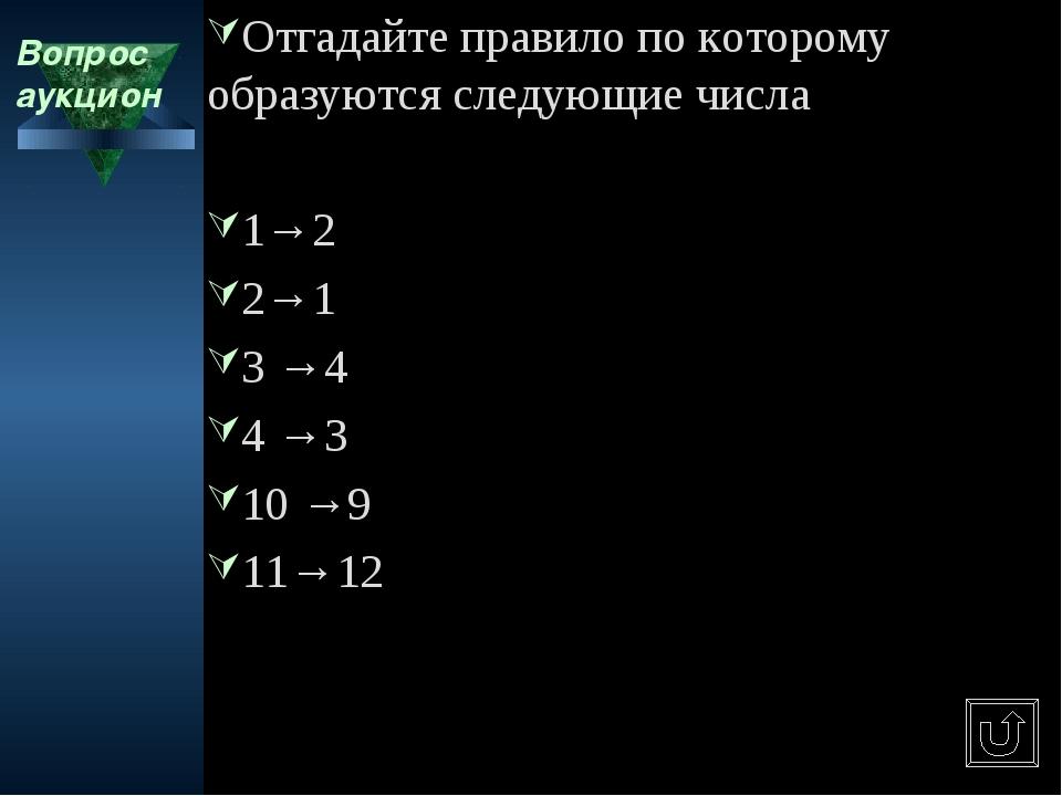 Вопрос аукцион Отгадайте правило по которому образуются следующие числа 1→2 2...