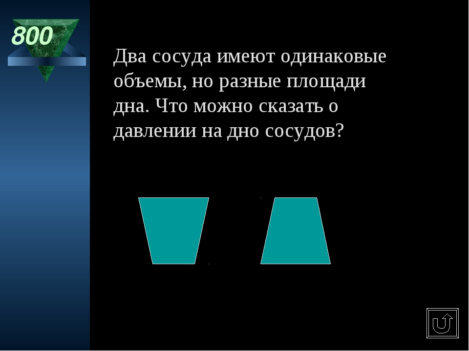 800 Два сосуда имеют одинаковые объемы, но разные площади дна. Что можно сказ...