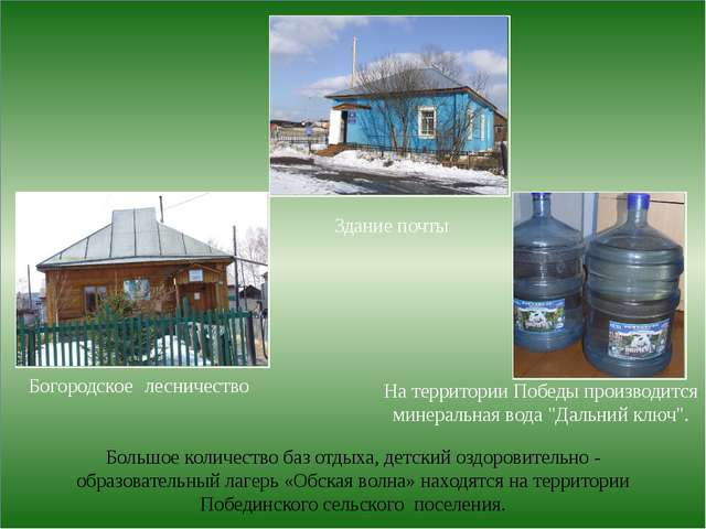 Богородское лесничество Здание почты Большое количество баз отдыха, детский...
