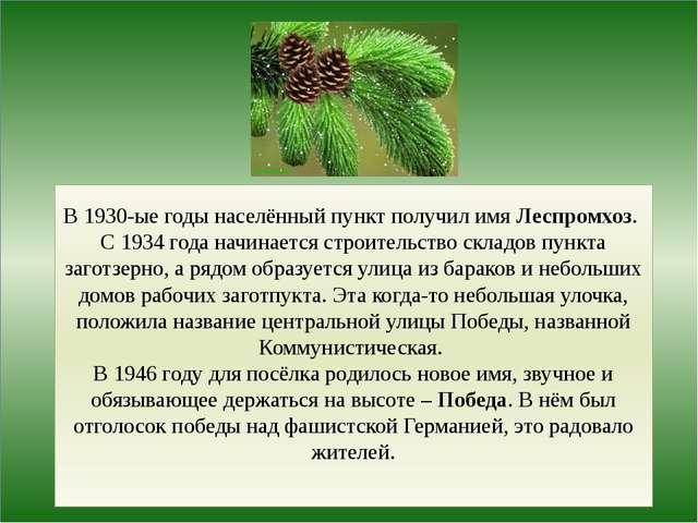 В 1930-ые годы населённый пункт получил имя Леспромхоз. С 1934 года начинает...