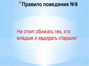 Правило поведения №8 Не стоит обижать тех, кто младше и задирать старших!