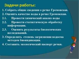 Задачи работы: 1. Собрать общие сведения о речке Громовская. 2. Оценить качес