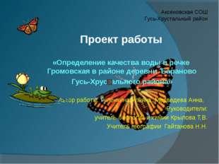 «Определение качества воды в речке Громовская в районе деревни Бараново Гусь-