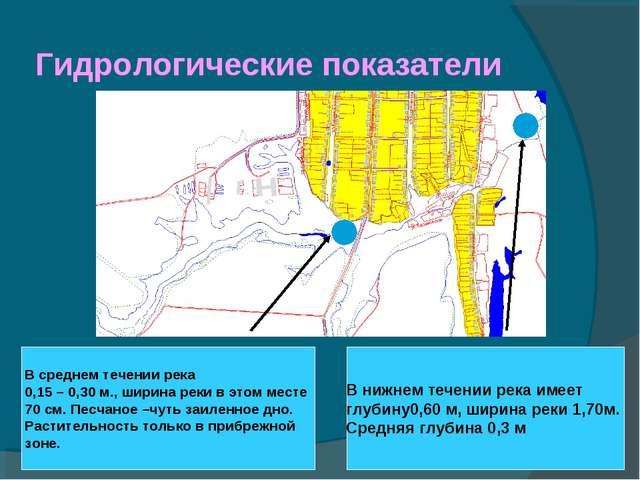 Гидрологические показатели В среднем течении река 0,15 – 0,30 м., ширина реки...