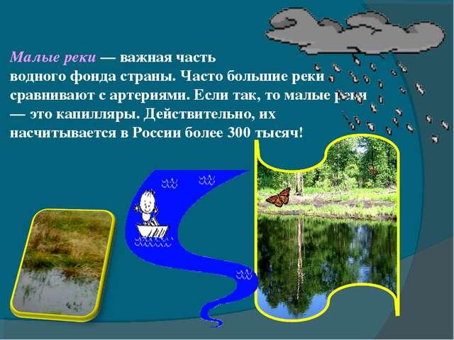 Малые реки — важная часть водного фонда страны. Часто большие реки сравнивают...