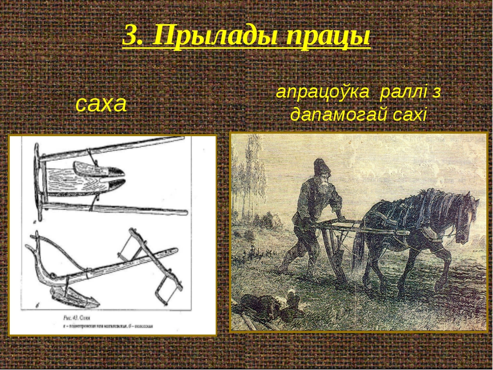 3. Прылады працы саха апрацоўка раллі з дапамогай сахі
