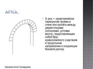 А́рка — криволинейное перекрытие проёма в стене или пролёта между двумя опора
