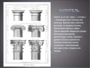 Капите́ль (от лат. caput — «голова») — венчающая часть колонны или пилястры.
