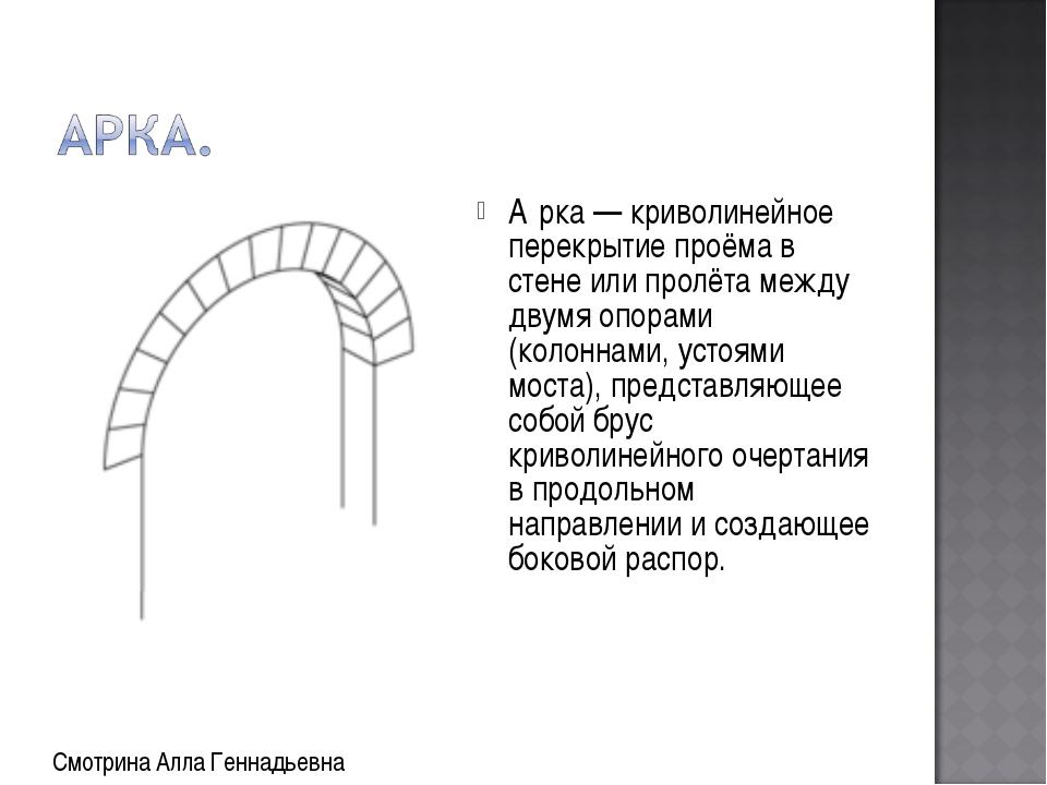 А́рка — криволинейное перекрытие проёма в стене или пролёта между двумя опора...