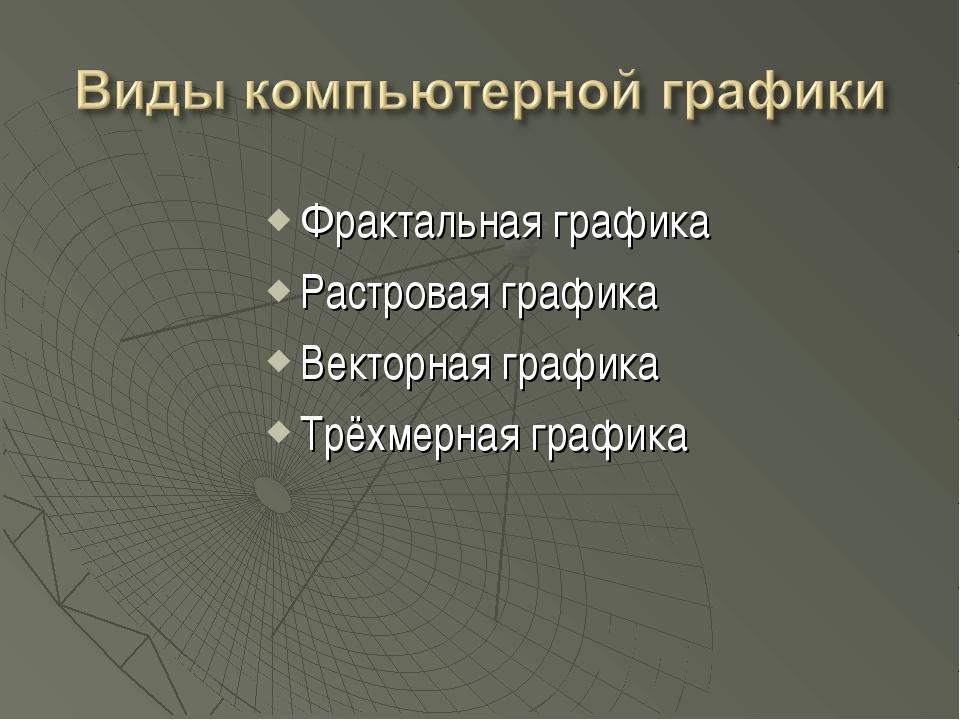 Фрактальная графика Растровая графика Векторная графика Трёхмерная графика