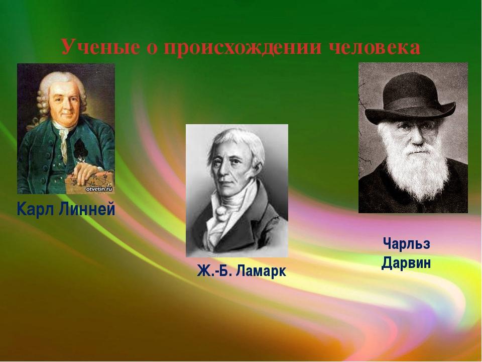 Ученые о происхождении человека Карл Линней Ж.-Б. Ламарк Чарльз Дарвин