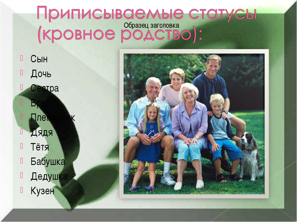 Сын Дочь Сестра Брат Племянник Дядя Тётя Бабушка Дедушка Кузен