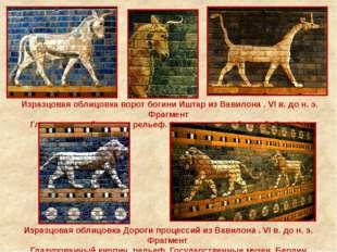 Изразцовая облицовка ворот богини Иштар из Вавилона . VI в. до н. э. Фрагмент