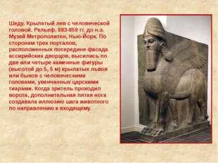 Шеду. Крылатый лев с человеческой головой. Рельеф. 883-859 гг. до н.э. Музей