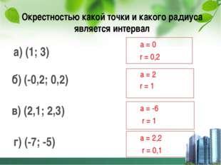 Окрестностью какой точки и какого радиуса является интервал а) (1; 3) б) (-0,