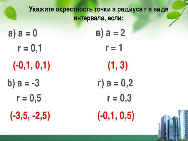 Укажите окрестность точки а радиуса r в виде интервала, если: а) а = 0 r = 0,...
