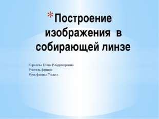 Корнеева Елена Владимировна Учитель физики Урок физики 7 класс Построение изо