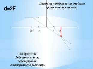 d=2F Предмет находится на двойном фокусном расстоянии Изображение действитель