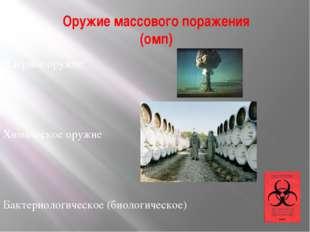 Оружие массового поражения (омп) Ядерное оружие Химическое оружие Бактериолог