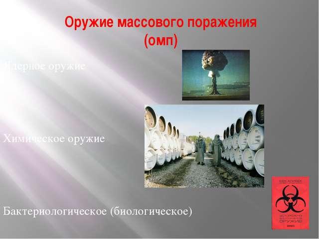 Оружие массового поражения (омп) Ядерное оружие Химическое оружие Бактериолог...