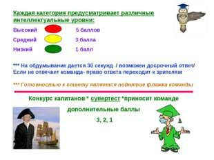 Каждая категория предусматривает различные интеллектуальные уровни: Высокий 5