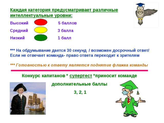 Каждая категория предусматривает различные интеллектуальные уровни: Высокий 5...