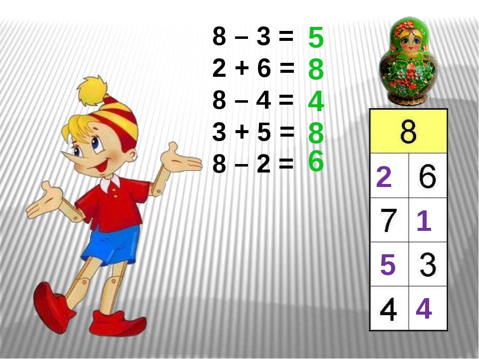 8 – 3 = 2 + 6 = 8 – 4 = 3 + 5 = 8 – 2 = 5 8 4 8 6 5 2 1 4
