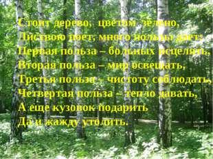Стоит дерево, цветом зелено, Листвою поет, много пользы дает: Первая польза –
