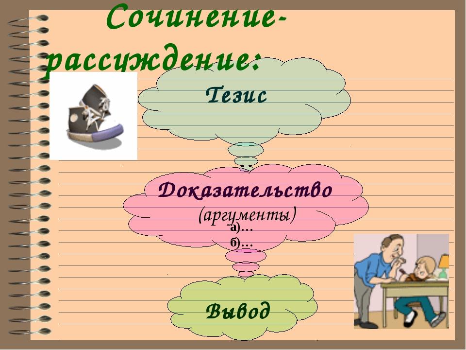 Тезис Доказательство Вывод Сочинение-рассуждение: (аргументы) а)… б)…